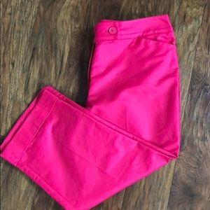 Ann Taylor Cuffed Capri Hot Pink CurvySexy 16 NWOT